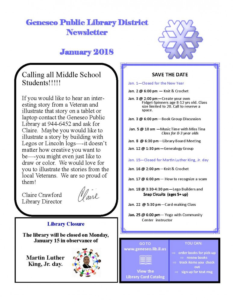 January 2018 Newsletter | Geneseo Public Library District